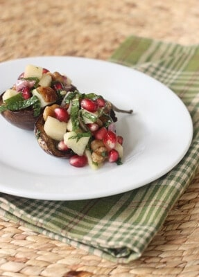 Post image for Roasted Eggplant with Walnuts, Pomegranate and Mint