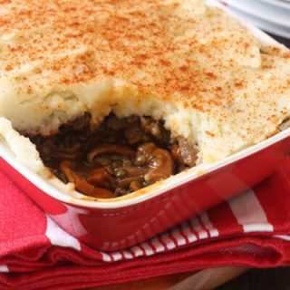 Wild mushroom and lentil shepherd's Pie. A Vegetarian version of a comfort food classic.