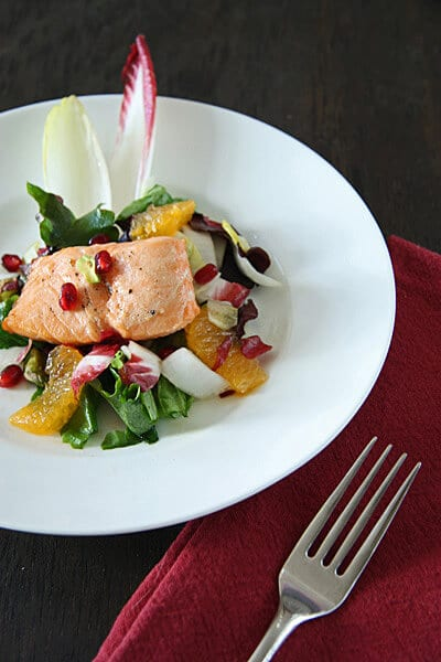 Endive with Tangerines, Pomegranates and Salmon