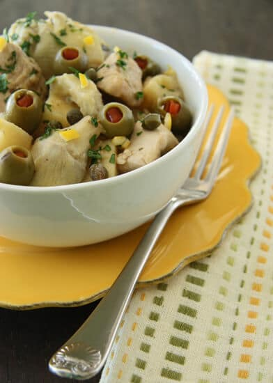 Chicken Stew with lemon, artichokes, potatoes and olives