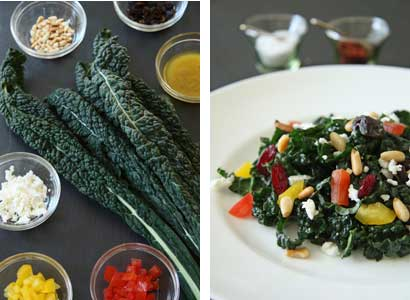Kale ingredients and salad Kale Salad with Dates, Pine Nuts and Feta.. and a Giveaway!