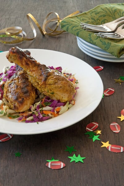Tandoori chicken with mango slaw