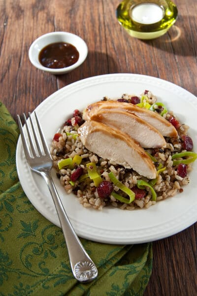 Post image for Apricot Glazed Chicken with Cranberry Rice Pilaf