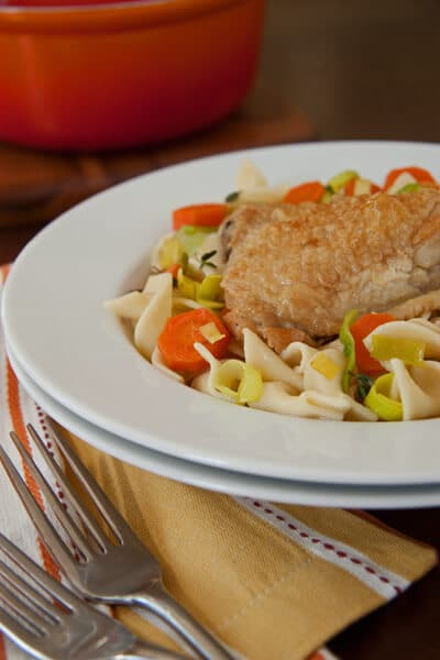 Post image for Cider  Vinegar Braised Chicken with Carrots and Noodles