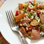 Roasted Potato Salad with Corn, Red Bell Peppers and Pancetta