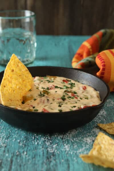 Chili Con Queso in a frying pan