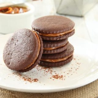 Sweet, earthy and a little spicy, these Chocolate, Chili and Dulce de Leche cookies are a flavor explosion and a creative riff on alfajores.