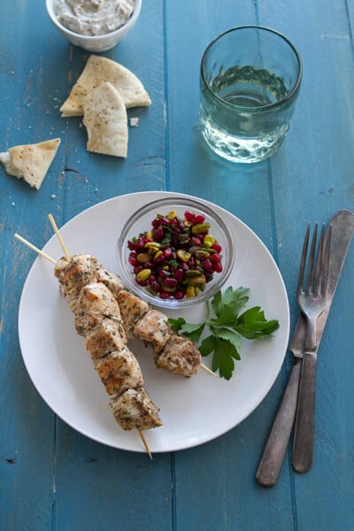 Baharat Chicken Skewers with Pomegranate Relish | A ...