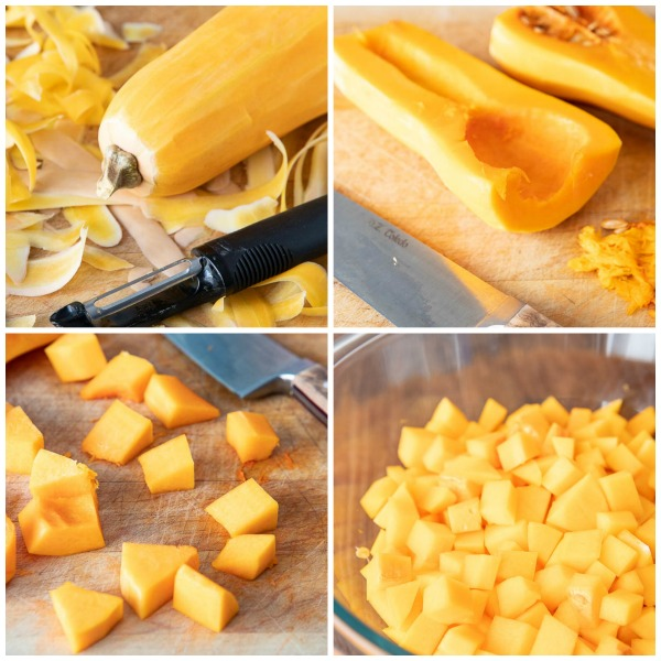 Collage of photos showing how to cut butternut squash