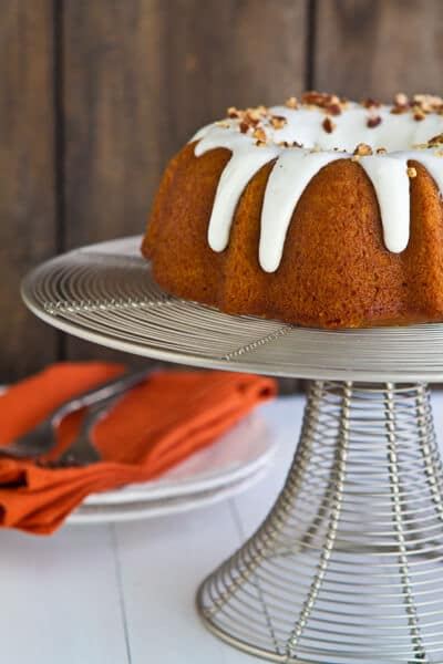 Post image for Bourbon Pumpkin Bundt Cake with Bourbon Cream Cheese Glaze