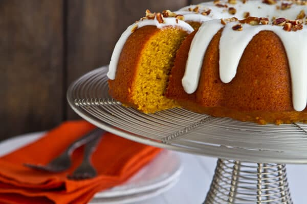 Bourbon Pumpkin Bundt CakeBC2 Bourbon Pumpkin Bundt Cake with Bourbon Cream Cheese Glaze