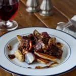 Braised Short Ribs with Fingerlings, Bacon and Pearl Onions