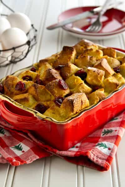 Eggnog Strata with Tangerine and Cranberry