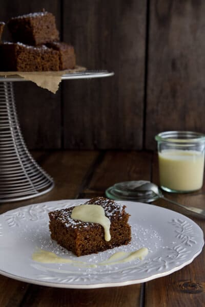 Gingerbread with a lightly spiced, creamy sauce - you'll never top it with whipped cream again!