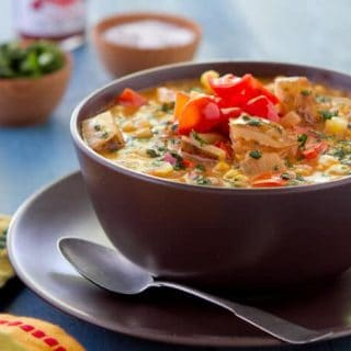 "Got leftover salsa? Make soup!! This seriously simple chicken Salsa Chowder recipe is chock full of flavor and makes great use of refrigerator ""odds and ends""."