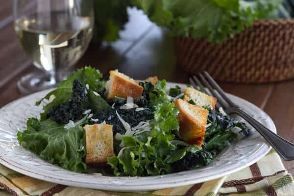 Post image for Mustard Greens with White Wine Vinaigrette and Homemade Croutons