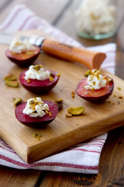 Plum Bites with Goat Cheese and Pistachios