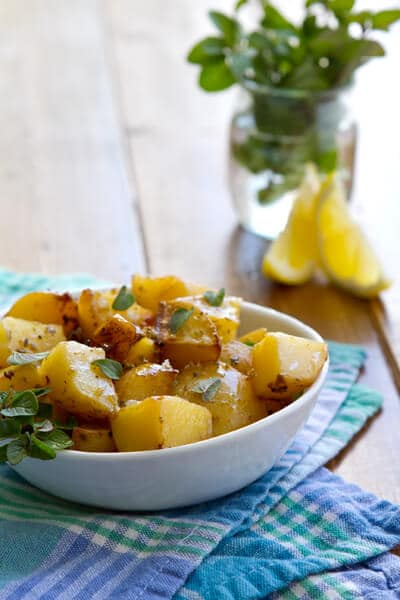 dish with a serving of greek potatoes.