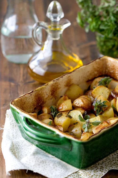 casserole dish with greek potatoes.