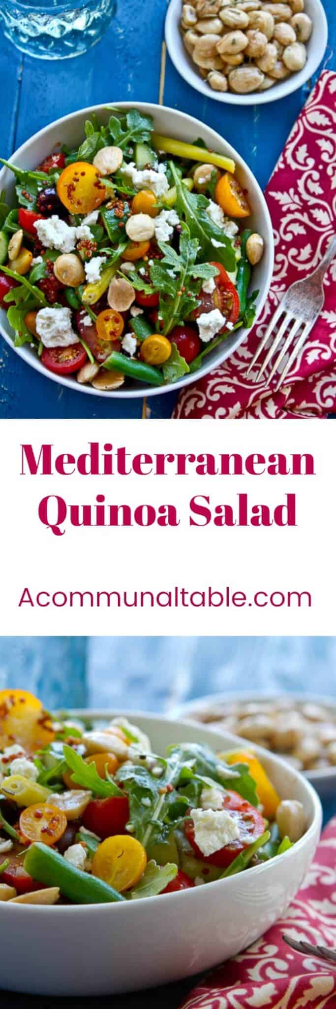 Easy and healthy Mediterranean Quinoa Salad recipe with a lemon vinaigrette. Tomatoes, arugula, feta and almonds combine in this make ahead side dish!
