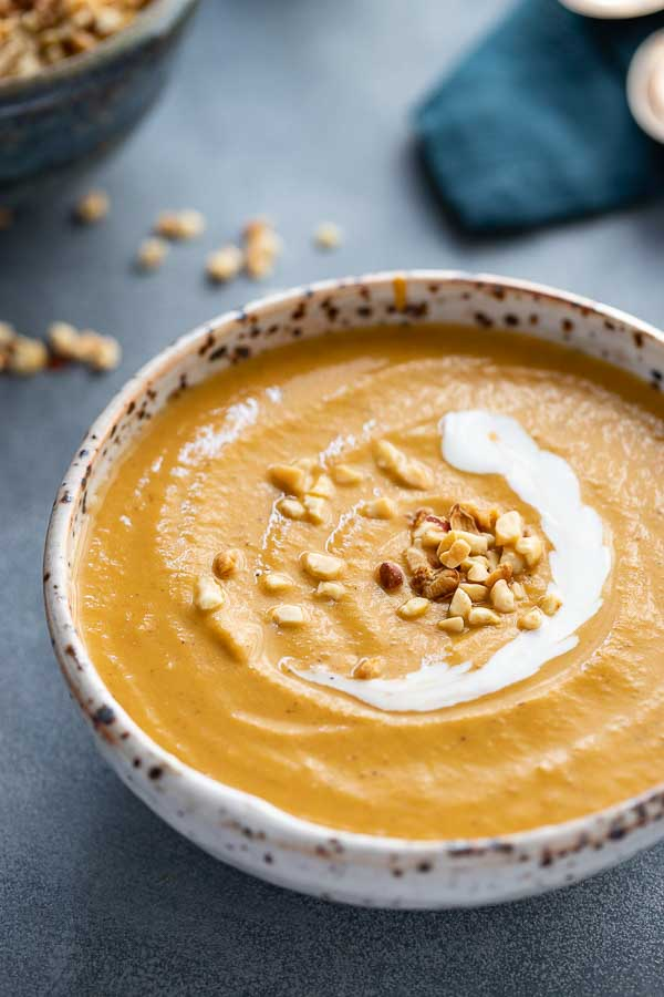 African peanut soup - close up in a bowl.