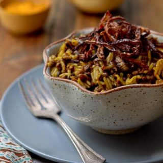 Rice with Caramelized onions and Lentils