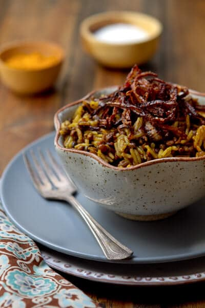 Majadra Rice with Caramelized onions and Lentils