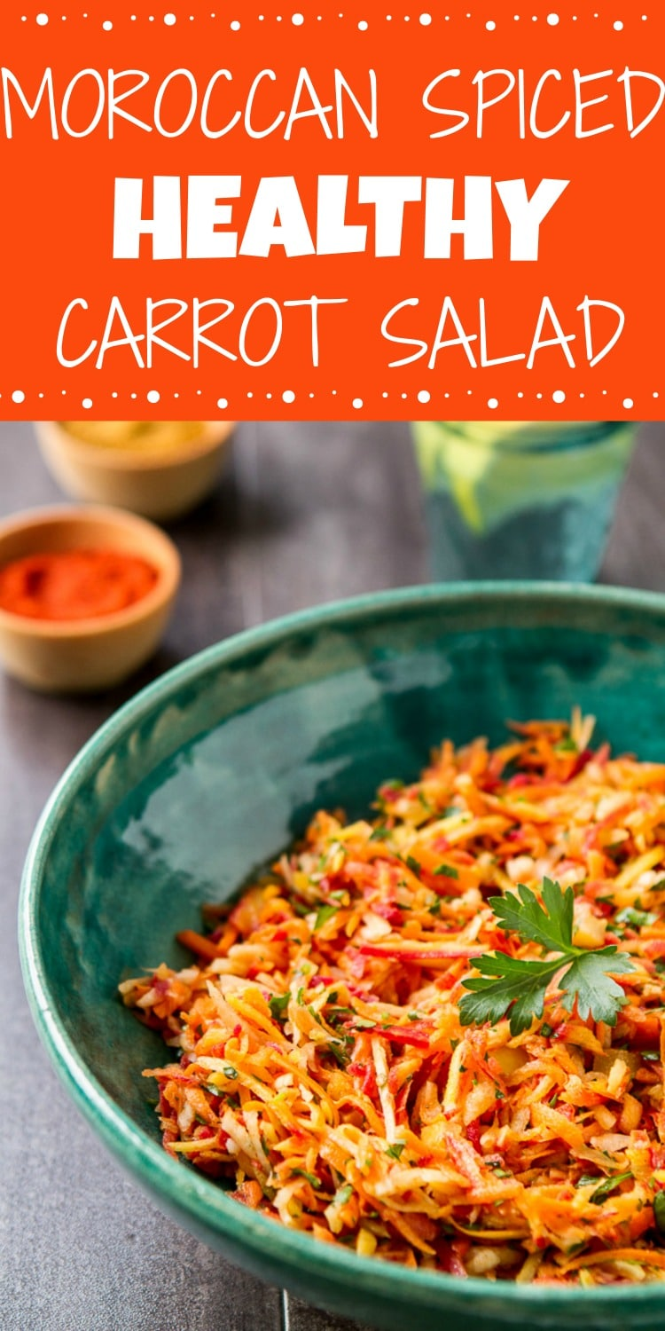 This healthy, easy, shredded Carrot Salad with Moroccan Spices is sweet, sour and crunchy! A wonderful make ahead salad for potlucks, tailgating or for brown bagging!
