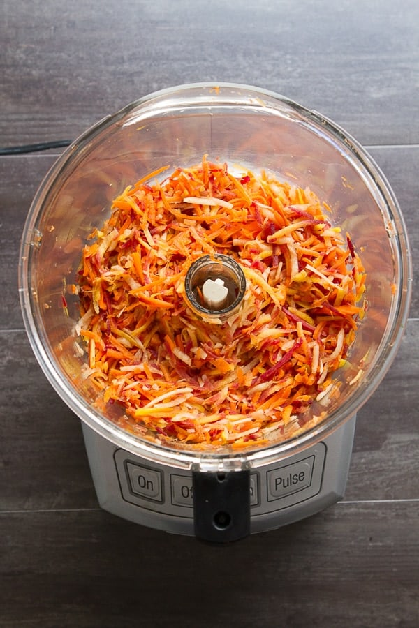 food processor with shredded carrots for Carrot Salad with Moroccan Spices