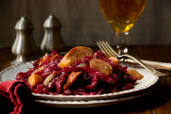 Cider Braised Cabbage and SausageBC2 Cider braised Cabbage and Sausage