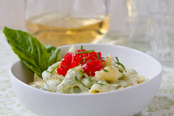 Pasta with Basil Yogurt Sauce