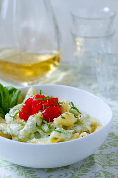 Pasta-with-Basil-Yogurt-Sauce