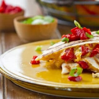 Cheddar Quesadillas with Roasted Red Bell Peppers