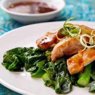 Gai lan with Tangerine Glazed Chicken