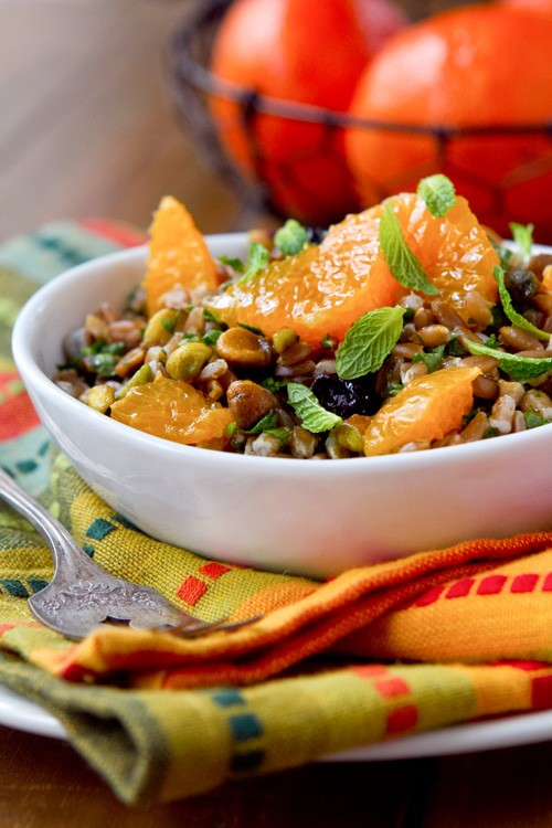 farro salad with tangerines and pistachios
