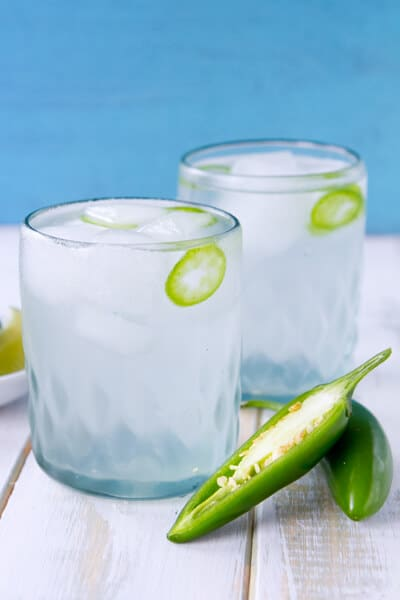 Lemongrass Ginger Cooler with jalapeno in two glasses