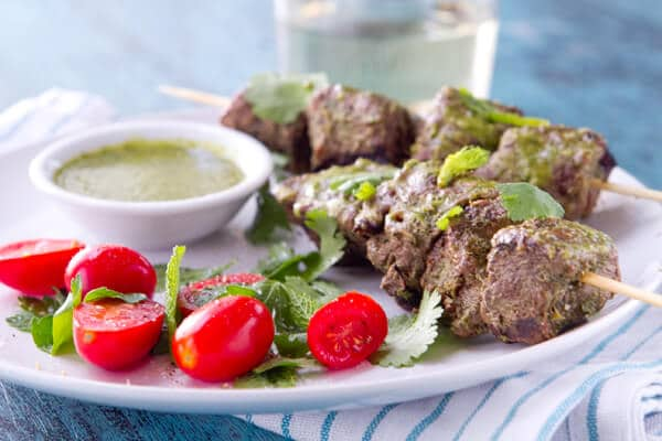 Mint, coriander and honey lamb kebabsw