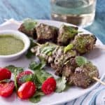 mint, coriander and honey lamb kebabs