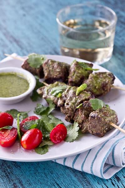 mint, coriander and honey lamb kebabs