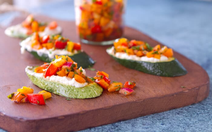 These vegetarian, low carb Zucchini Bruschetta with Pepper Relish are the perfect make ahead party appetizer! Sweet, smoky and bursting with flavor, you'll want to slather this relish on everything!