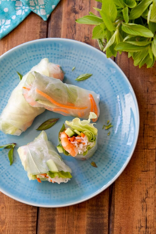 ... starting with the Shrimp and Mint Summer Rolls….. party optional