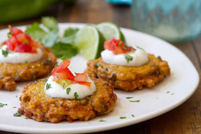 Hatch Chile and Corn Fritters