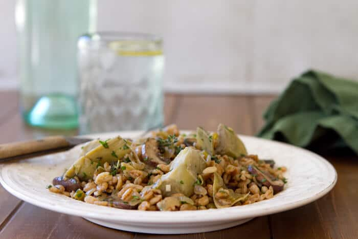 Artichoke mushroom and farro  Farro with Artichokes, Caramelized Onions and Mushrooms