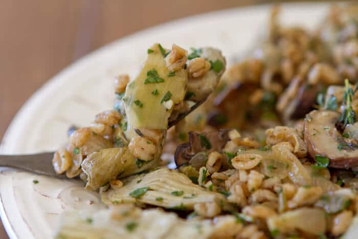 Artichoke, mushroom and farro
