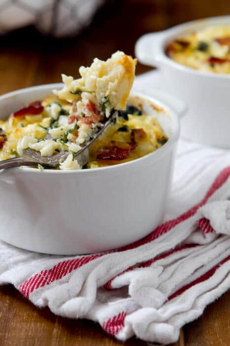 Baked orzo with bacon, spinach and feta casserole recipe can be breakfast, brunch, dinner or a side dish for roasted meats.