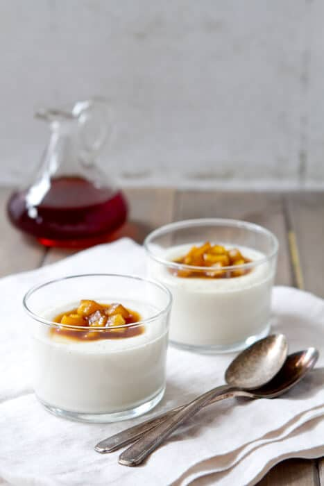Cinnamon Spiced Panna Cotta with Apple Cider Compote