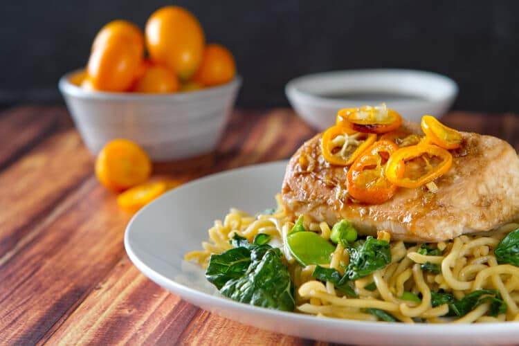 Salmon & Kumquat Yakisoba Noodle Recipe on a plate