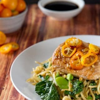 Salmon Yakisoba with Kumquats