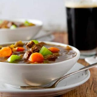 Rich and satisfying, this St. Patrick's Beef and Guinness Stew is a wonderful make ahead one dish dinner for St. Patrick's day or any other day.