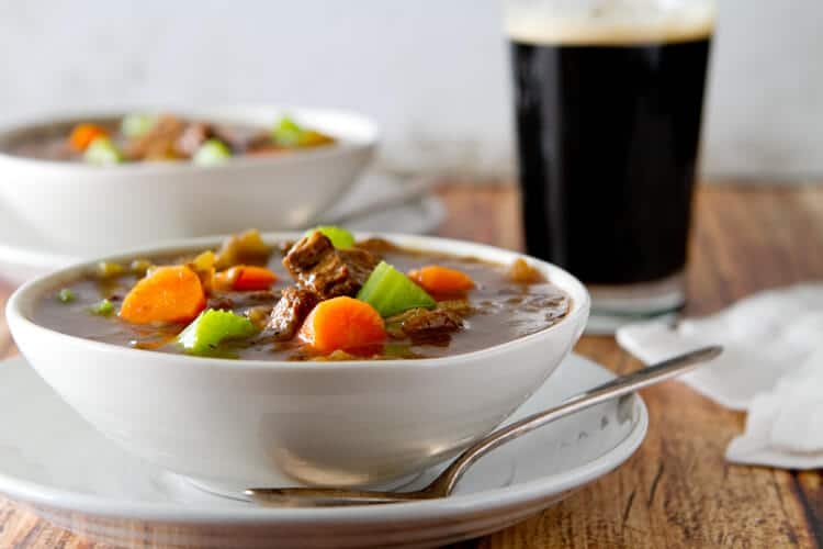 A steaming bowl of St. Patrick's Beef and Guinness Stew